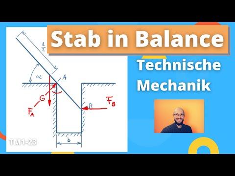 Gleichgewichtslage eines (ideal glatten) Stabs ermitteln - Technische Mechanik 1, Übung 23