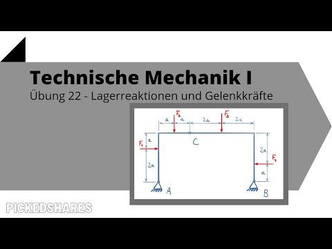 Lagerreaktionen und Gelenkkräfte berechnen - Technische Mechanik 1, Übung 22