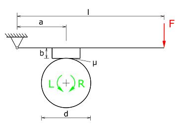 Trommel mit Betätigungshebel und Bremsklotz im Rechts- oder Linkslauf