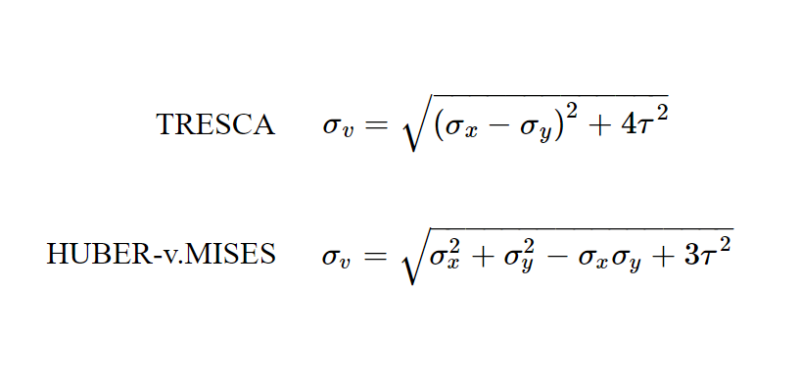 Equivalent stresses according to TRESCA and HUBER-v.MISES for the plane stress state