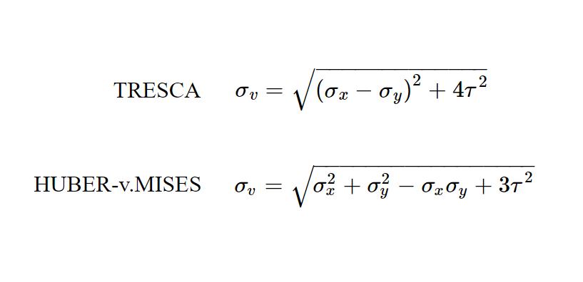Vergleichsspannungen nach TRESCA und HUBER-v.MISES für den ebenen Spannungszustand