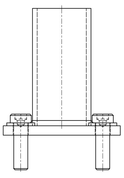 Maschinenfuß Variante 1 - mit Durchgangsbohrungen