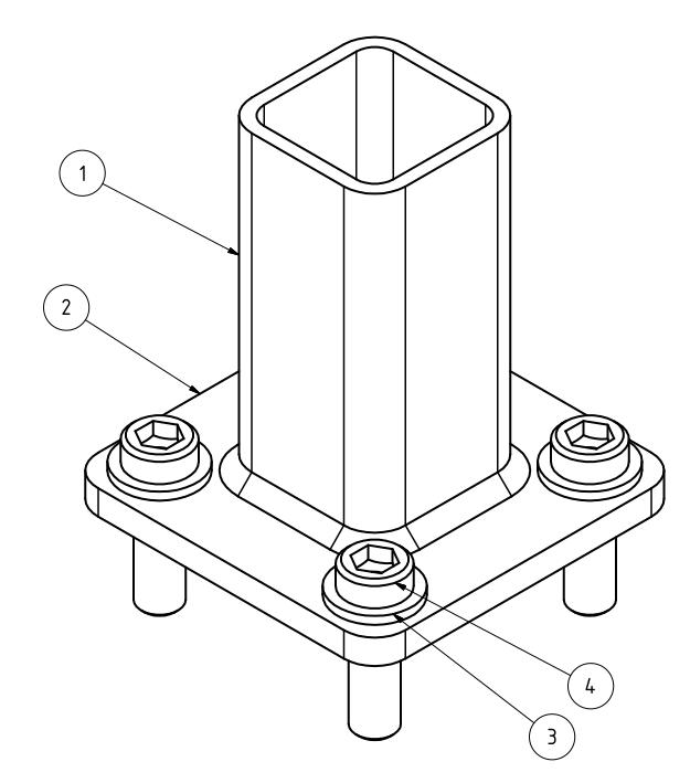 Maschinenfuß Variante 1 - mit Durchgangsbohrungen, Isometrie