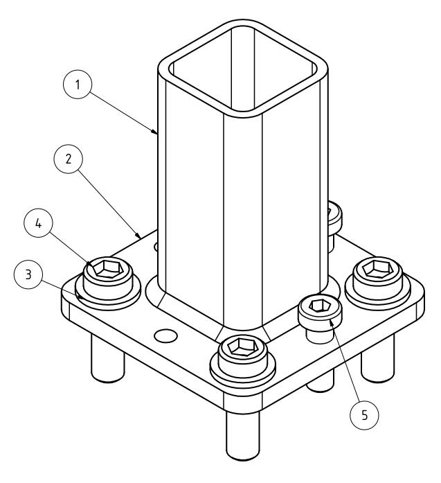 Maschinenfuß Variante 2 - mit Niveausgleich, Isometrie