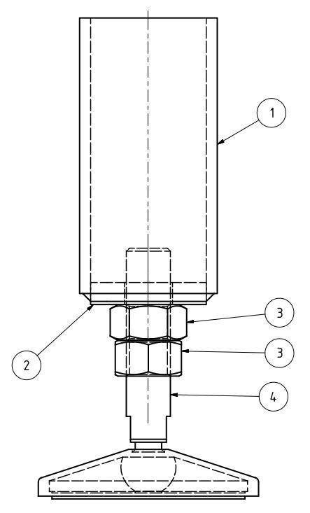 Maschinenfuß Variante 3 - mit Kaufteil und innenliegender Stirnplatte