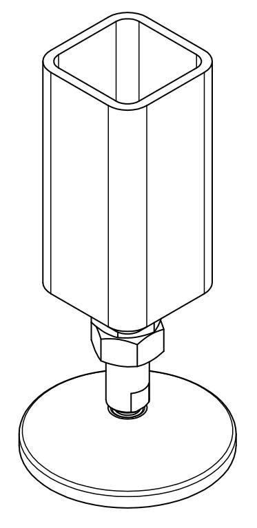 Maschinenfuß Variante 3 - mit Kaufteil und innenliegender Stirnplatte, Isometrie