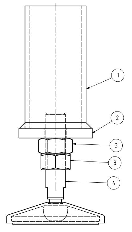 Maschinenfuß Variante 4 - mit Kaufteil und aufgesetzter Stirnplatte