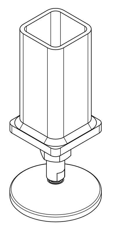 Maschinenfuß Variante 4 - mit Kaufteil und aufgesetzter Stirnplatte, Isometrie