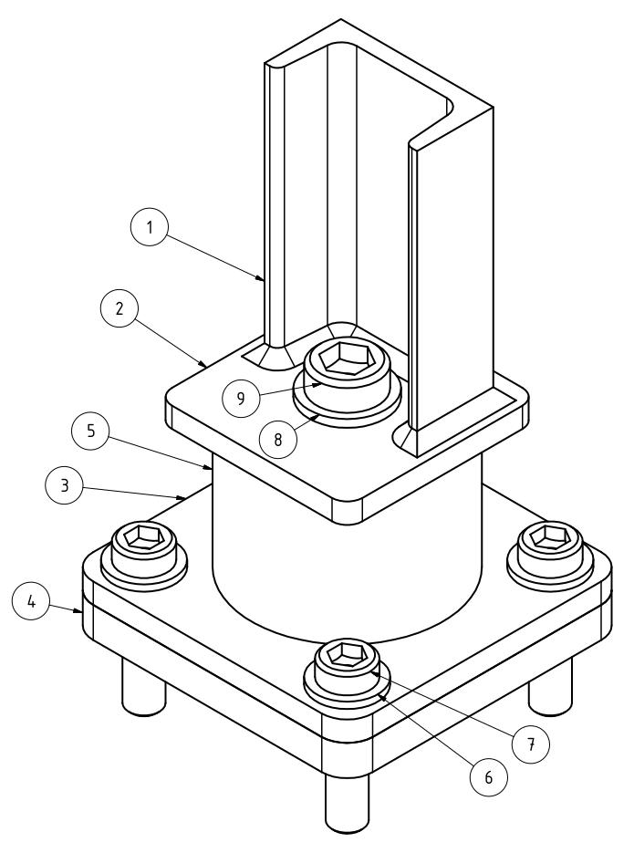 Maschinenfuß Variante 5 - mit Gummipuffer, Isometrie